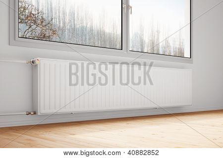 Central Heating Attachted To Wall Closed Windows