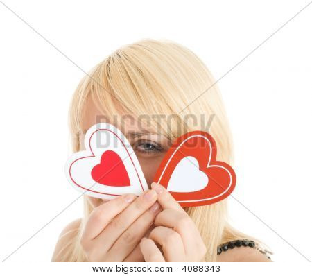 Portrait Of Flirting Woman Closed Your Face By Two Hearts