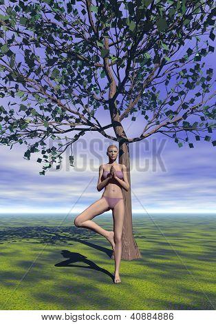 Tree Pose, Vrkasana - 3D Render