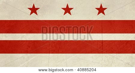 Grunge illustration of Washington D.C City flag, America.