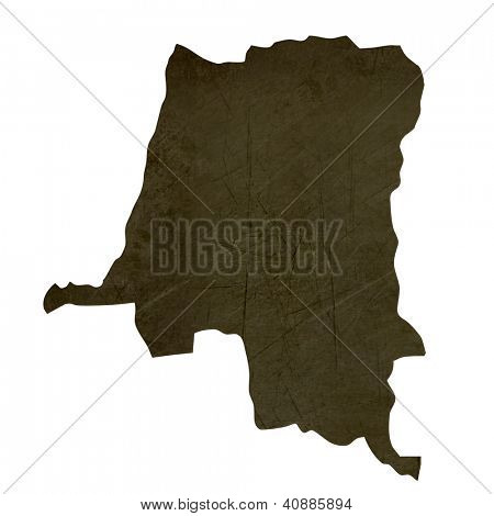 Dark silhouetted and textured map of Zaire isolated on white background.