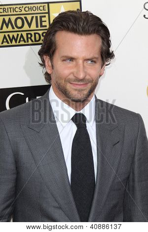 LOS ANGELES - JAN 9:  Bradley Cooper arrives at the 18th Annual Critics' Choice Movie Awards at Barker Hangar on January 9, 2013 in Santa Monica, CA