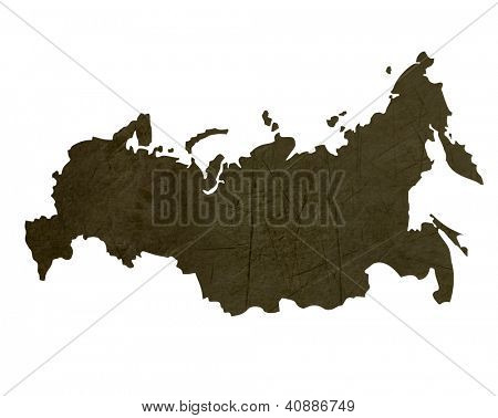Dark silhouetted and textured map of Russian Federation isolated on white background.