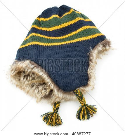 Striped wool beanie hat isolated on white background