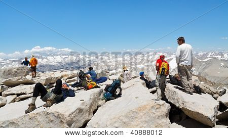 Hikers On The Summit Of Mount Whitney