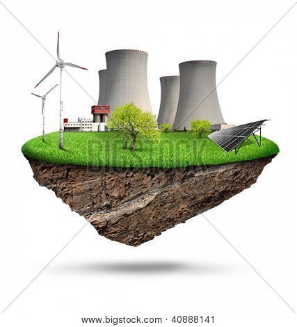 energy concepts with nuclear power plant,wind turbines and solar panel