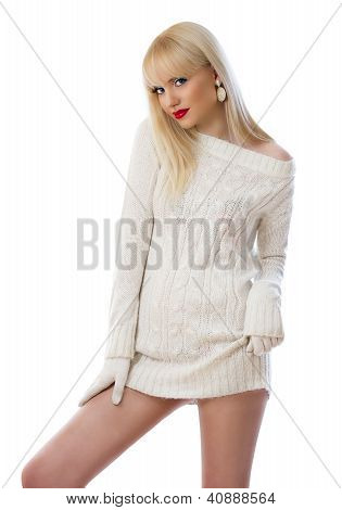 Beautiful Young Woman In Knitted Dress