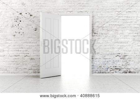 3d open door in a white vintage brick wall