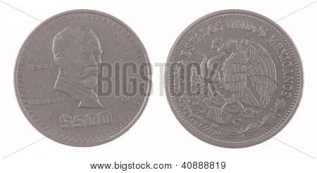 1988 Mexican 500 Pesos coin isolated on white