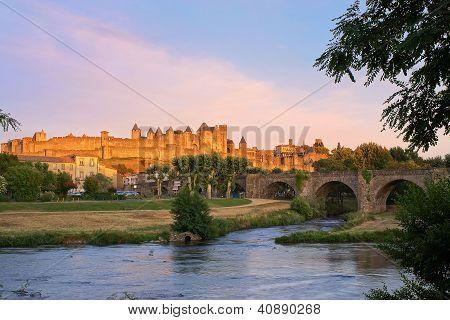 Carcassonne, France At Sunset