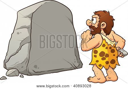 Caveman looking at a large rock and thinking. Vector clip art illustration with simple gradients. Rock and caveman on separate layers for easy editing.