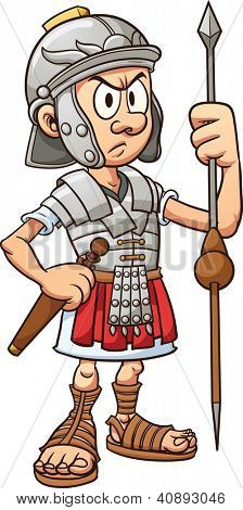 Cartoon roman soldier. Vector clip art illustration with simple gradients. All in a single layer.