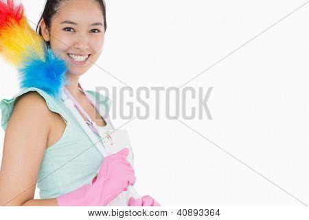 Mujer feliz con plumero