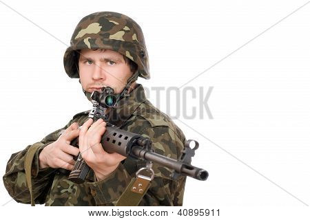 Armed Man Holding Svd