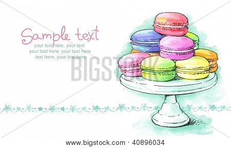 card with painted watercolor french dessert macaroons on cake stand