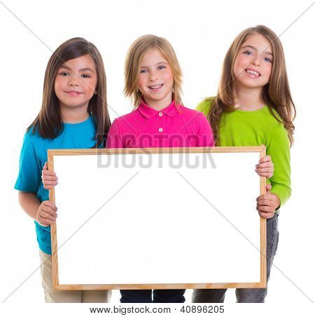 children group kid girls holding blank white board copy space