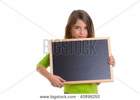 child smiling girl with blank frame copy space black blackboard happy
