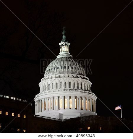 US Capitol Hill dome detail at night - Washington DC United States