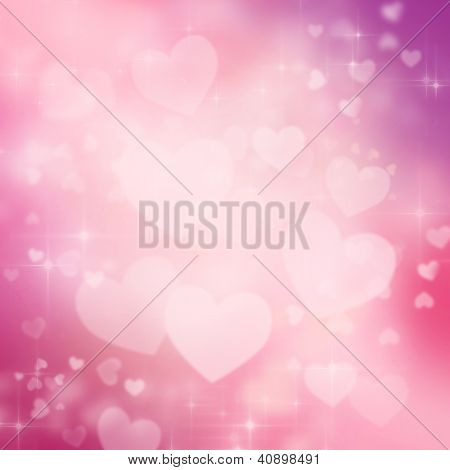 Valentine's love hearts pink and purple background