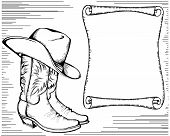 Cowboy boots and hat.Vector graphic illustration