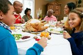 stock photo of 70-year-old  - Multi Generation Family Celebrating Thanksgiving - JPG