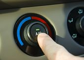 stock photo of air conditioner  - Turning on the AC in a hot car - JPG