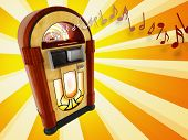 pic of jukebox  - A illustration of years 50 jukebox on abstract background - JPG