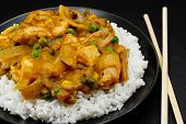 foto of chinese restaurant  - Chicken Curry a popular oriental dish available at chinese restaurants - JPG