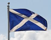 picture of braveheart  - the blue and white cross of st andrew the national flag of scotland ripples in the wind on flagpole - JPG