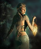 picture of pixie  - an elf princess lights up the way to the woodland area - JPG