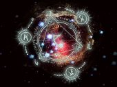stock photo of pentacle  - Glowing arcane symbols with a solar system background - JPG