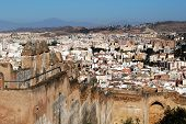 Castle walls and city, Malaga, Spain.