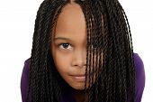 picture of cornrow  - isolated young black child with braids over face - JPG