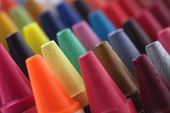 stock photo of blunt  - Colorful pastel(crayon) pencils tips for children and others used for kids drawing & coloring arranged attractively in rows and columns making a stunning display of colors