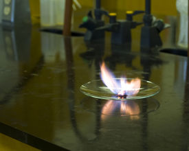 pic of chemical reaction  - Exothermic chemical reaction producing heat and light - JPG