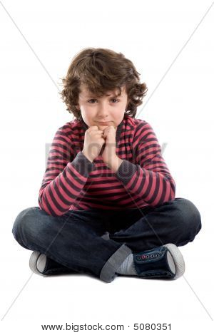 Adorable Caucasian Boy Sitting