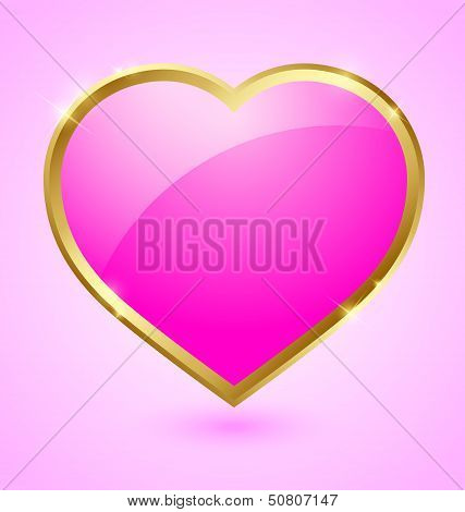 Pink And Golden Heart