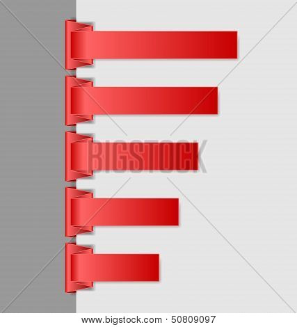 Red Folded Paper Navigation Menu Backgrounds