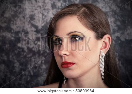 Brunette With Earrings