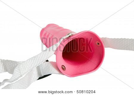 Pink Strapon For Man Or Woman. Isolated