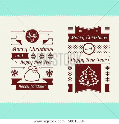 Merry Christmas invitation typographic design elements.