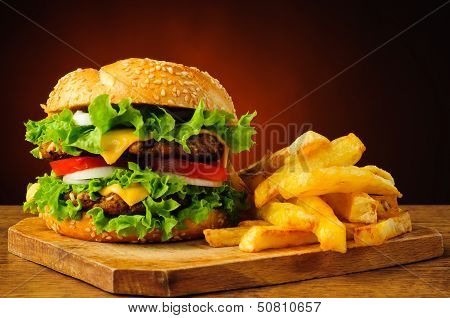 Traditional Hamburger And French Fries