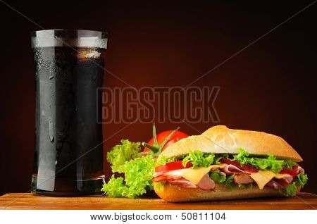 Sandwich, Vegetables And Cola