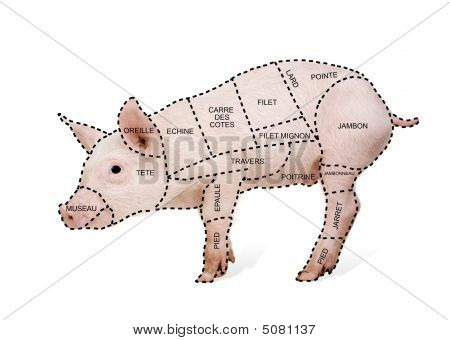 Pork Cut Chart Poster In French