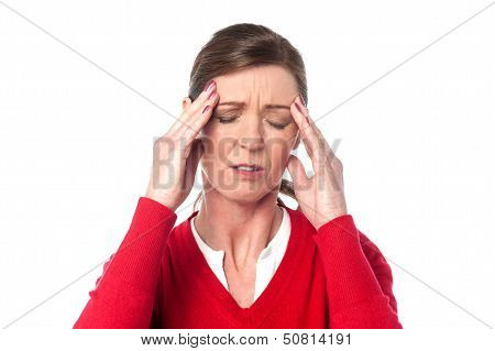 Middle Aged Woman Having Headache