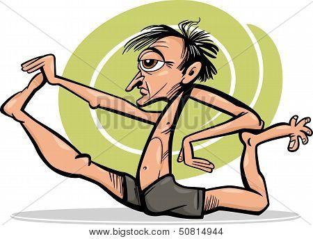 Man In Yoga Asana Cartoon Illustration