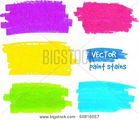 Colorful rainbow paintbrush vector strokes
