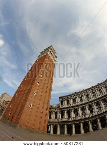 Most Famous Campanile In Piazza San Marco In Venice Photographed With Fisheye Lens