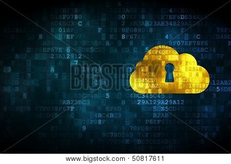 Cloud computing concept: Cloud With Keyhole on digital backgroun