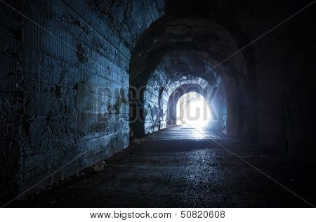 Blue Glowing Exit From Dark Abandoned Tunnel